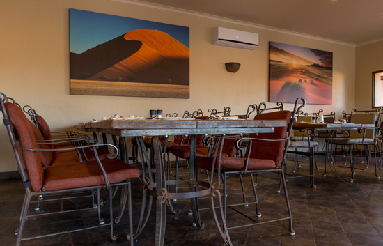 Indoor Restaurant ideal for Lunches at Sossuvlei Lodge